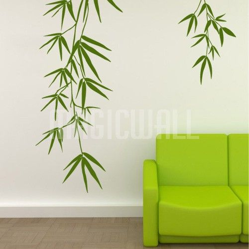 home bamboo leaves wall decals stickers