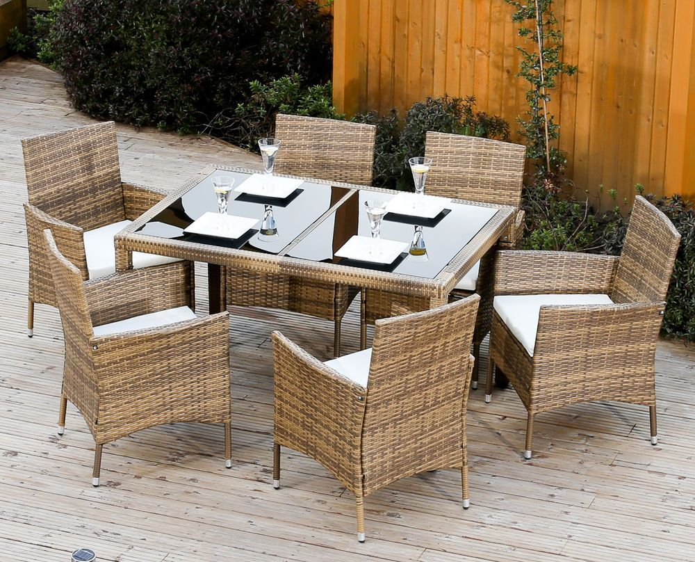 Light Mixed Brown Rattan Garden Furniture Dining Table Set 4 6 Chairs Pat Rattan Garden Furniture Restoration Hardware Outdoor Furniture Furniture Dining Table
