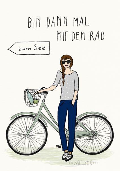 Bin dann mal mit dem Rad, Illustration, Zeichnung, Print, Custom Illustrated