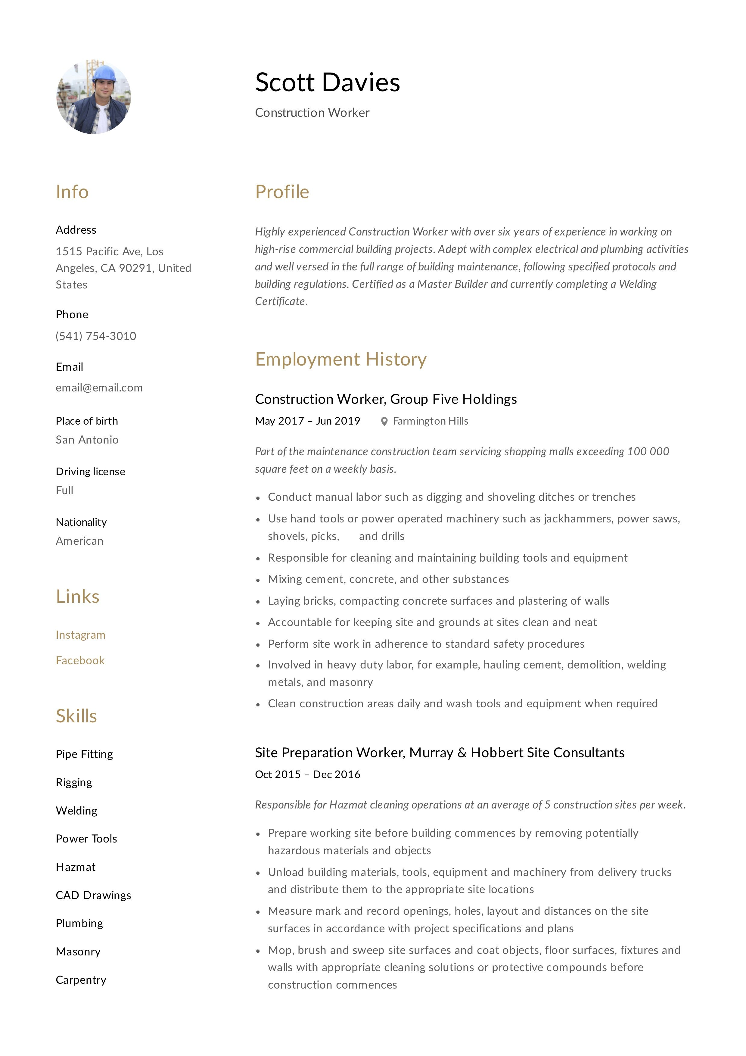 Construction Worker Resume Writing Guide In 2020 Guided