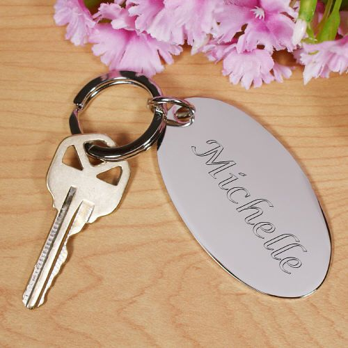 Engraved #Bridesmaid Silver Oval Key Chain. Classic And