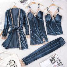 Photo of Tienda Online Nuevo pijama con abertura y encaje para otoño e inv