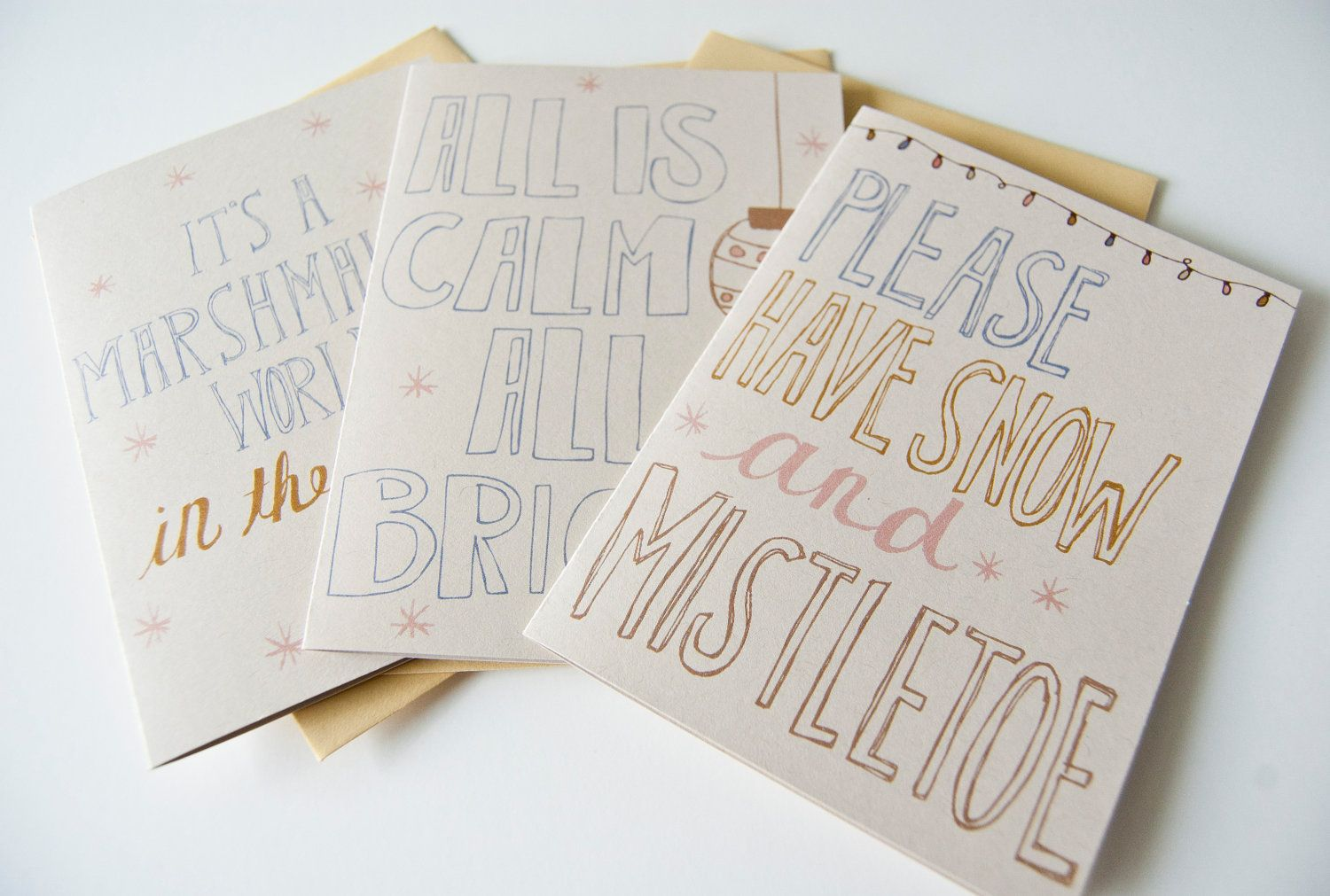 christmas card set of 6. winter greetings. hand lettered and illustrated. blank inside. typography. christmas songs.. $12.00, via Etsy.