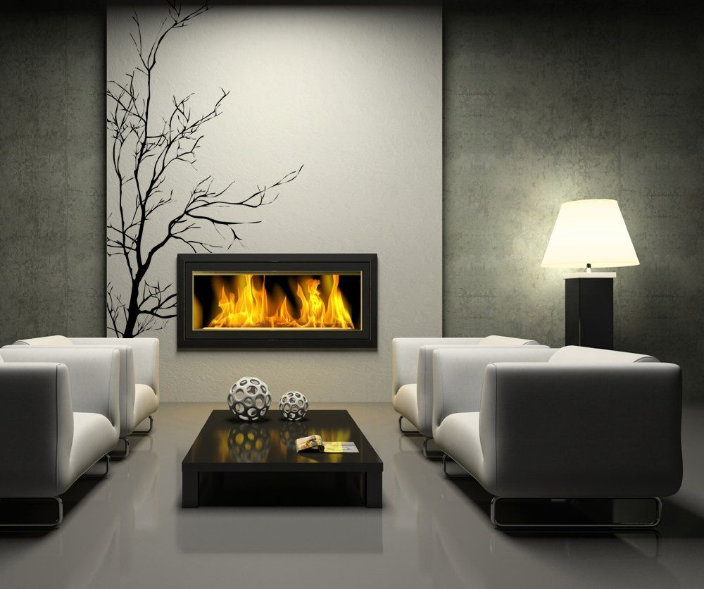 Robot Check Modern Flames Vinyl Wall Decals Electric Fireplace