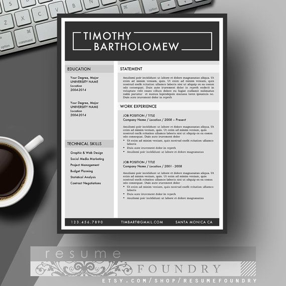 Masculine resume template and cover letter for por resumefoundry resume template cv template cover letter for by resumefoundry yelopaper Choice Image