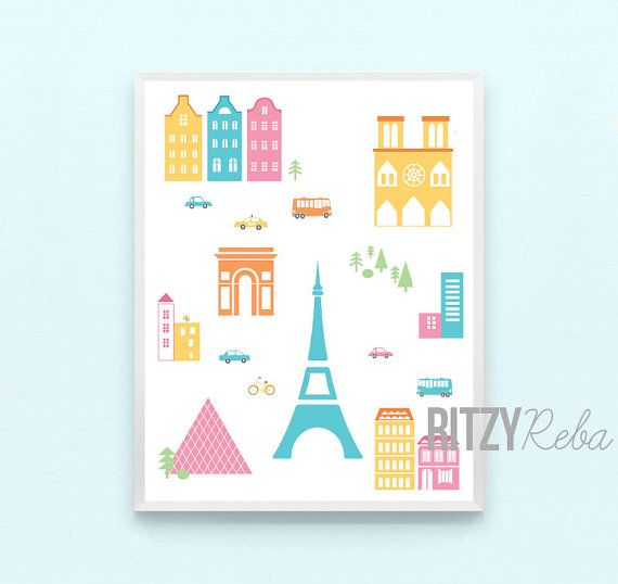 paris nursery map print eiffel tower france girl boy nursery minimalist modern wall art childrens kids nursery or paris playroom art on etsy 1000