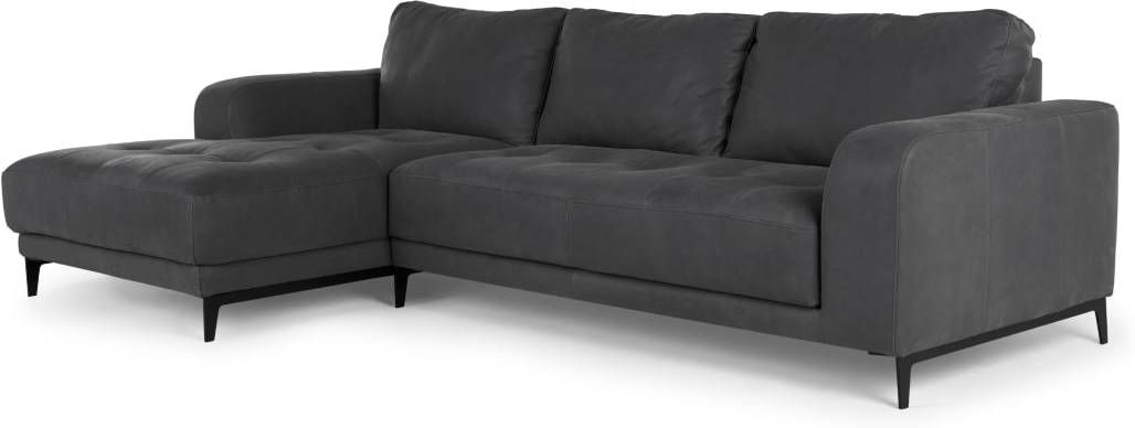 Luciano Left Hand Facing Chaise End Corner Sofa Grey Leather Grey Leather Corner Sofa Corner Sofa Leather Corner Sofa