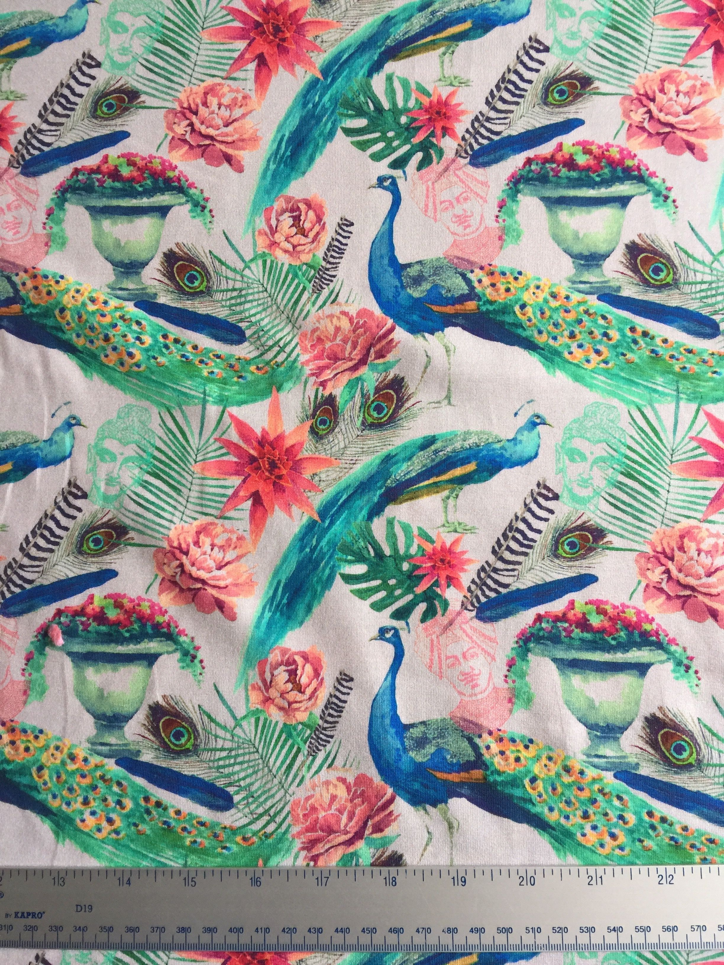 02b559dc09e Peacock Jersey Knit Fabric Floral Bright Digital | Jersey Fabric ...