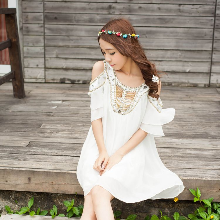 Celebrity cute handmade beaded dress plus size off