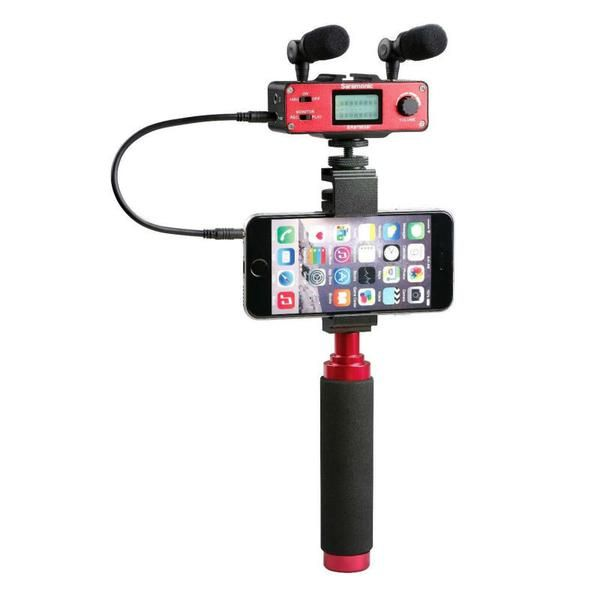 Handheld Recording Stereo Mobile Microphone Rig for iPhone & Smartphone