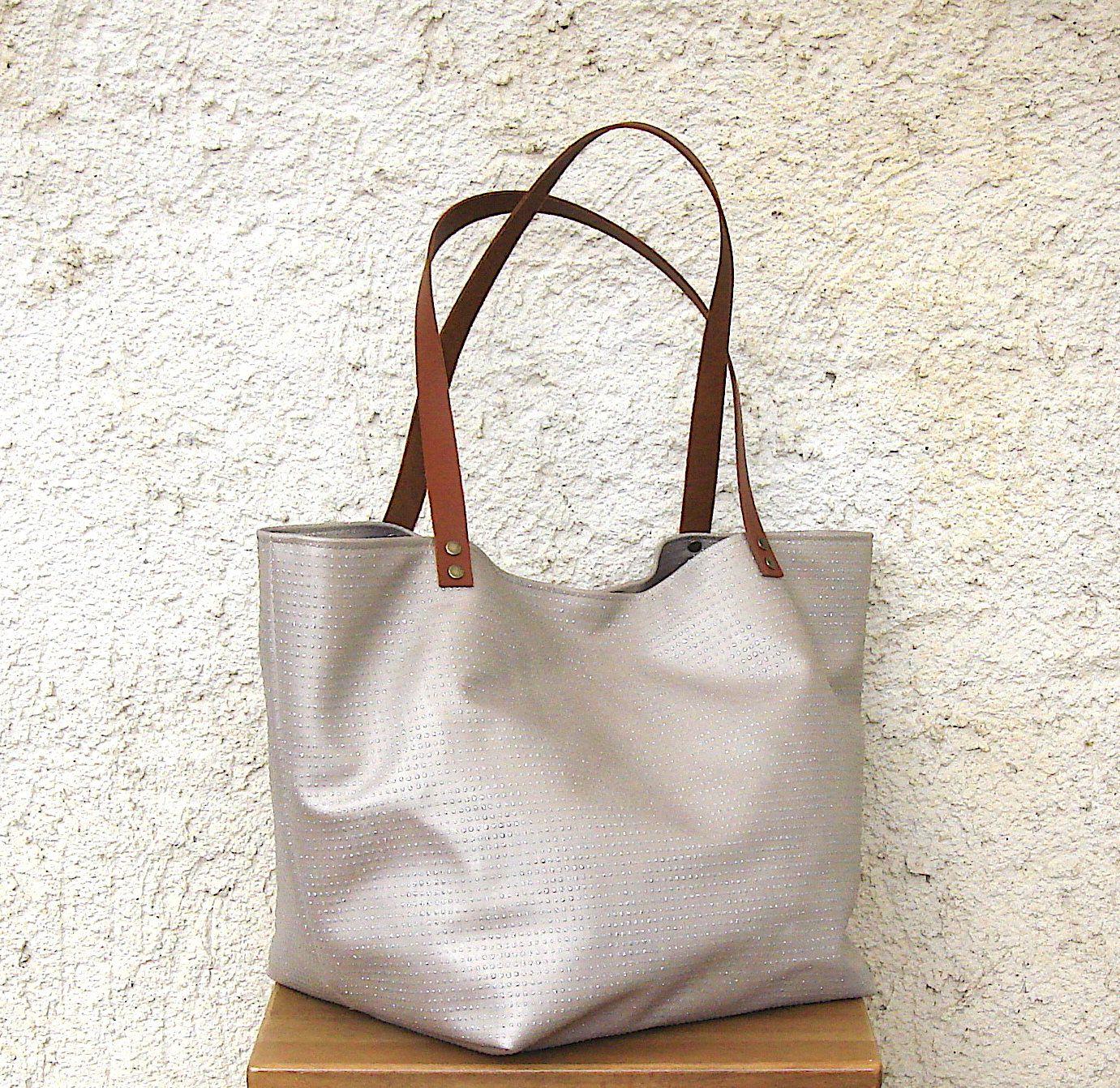 Tote bag faux leather rhinestone, bag handles in leather, beige tote bag,  tote bag, tote bag, XL, large tote bag, handmade in France   Fausse, Sac  cabas et ... 996413c932f