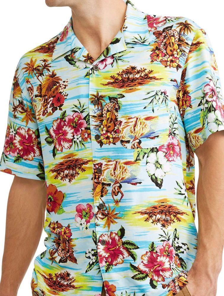 f89a229e George Big Mens Hula Girls Hibiscus Palm Trees Hawaiian Camp Shirt Up to 5X  #George #Hawaiian