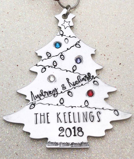 466bfce75190c Christmas Tree Hand Stamped Personalized Metal Ornament | Products ...
