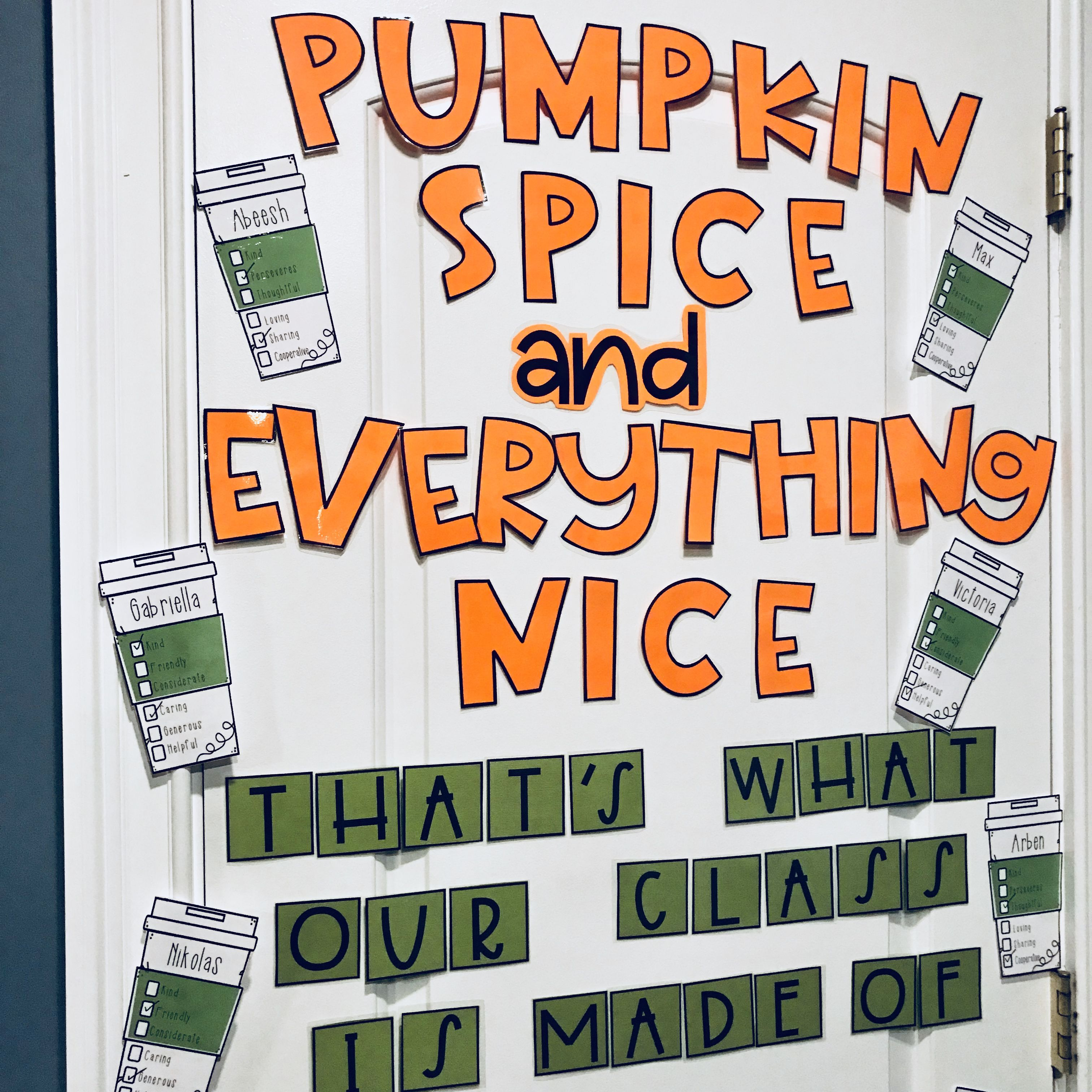 Door Decor - Pumpkin Spice & Kindness = perfect fall classroom door! #pumpkinspice #classroomdoor #doordecore #tpt