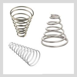 Conical Compression are made in cone shaped or tapered springs used to bear a load or supply a force. They regular used when there is not enough room for a direct compression spring.
