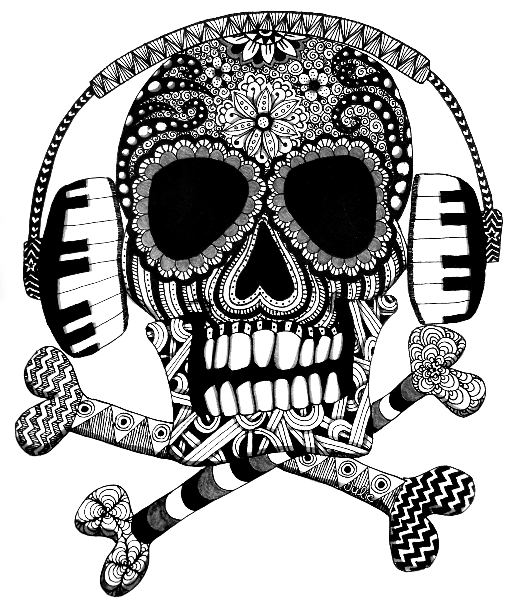 zentangle skull with headphones  sugar skull drawing