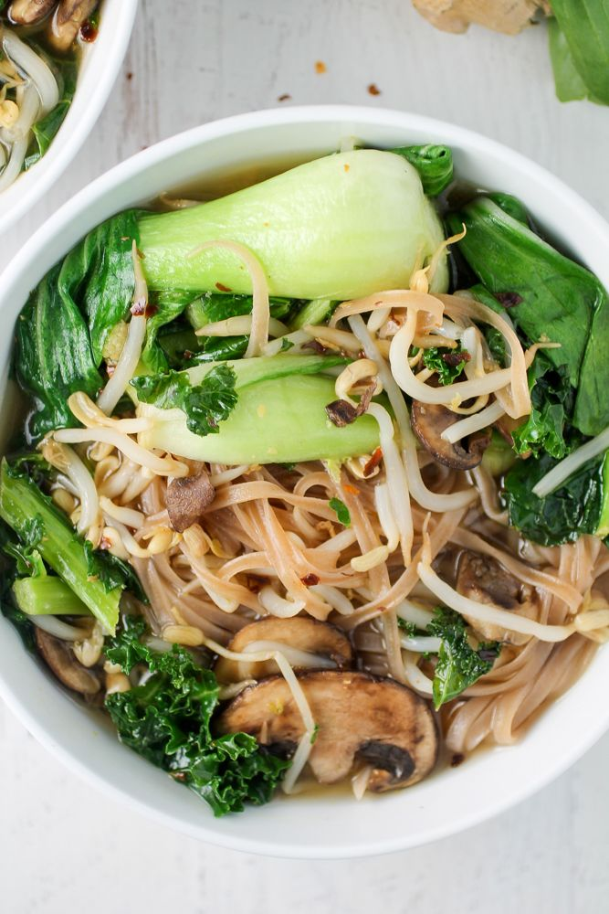 Bok Choy And Brown Rice Noodle Bowl Recipe Brown Rice Cooking Vegan Asian Recipes Rice Noodles