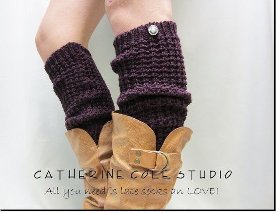 NEW PURPLE  hand knit look textured slouchy leg warmers retro 80s look  boots and shoes great gifts stocking stuffers Catherine Cole Studio.