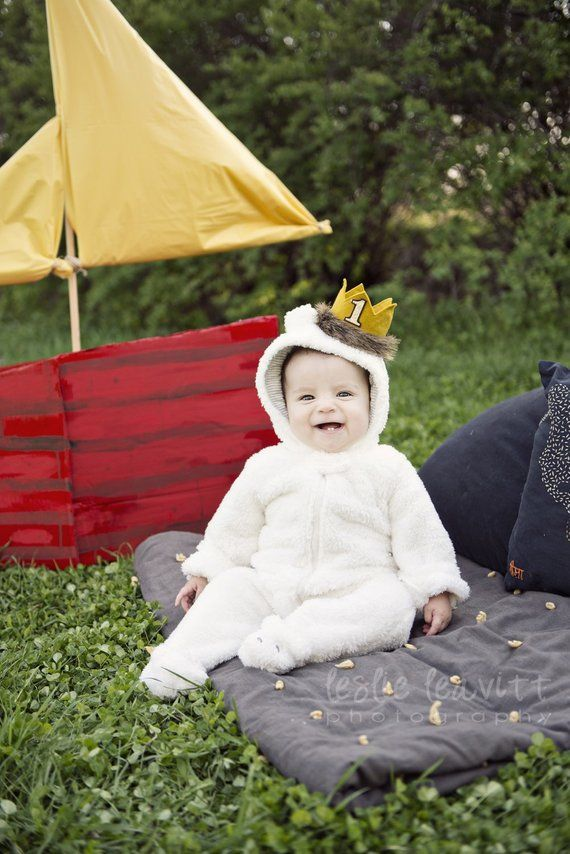 First Birthday Max Where the Wild Things Are Felt Mini Crown Headband, Gold Mustard Yellow, Fur, Cake Smash Photo Prop Pictures, One, Party #crownheadband