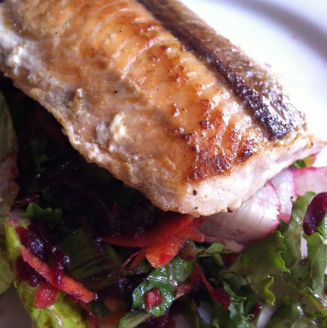 Salmon on a bed of salad  http://IShowFood.com