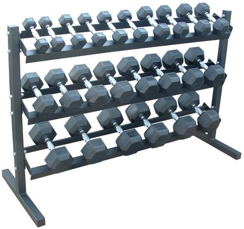 Dumbbell Set And Rack For Sale: Rubber Hex Dumbbell Set + Rack