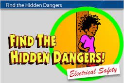 Find the Hidden Dangers. Find the electrical hazards lurking in these three neighborhoods. Earn bonus points for knowing how to correct the dangers. Electricity, safety, play & learn, for kids & students