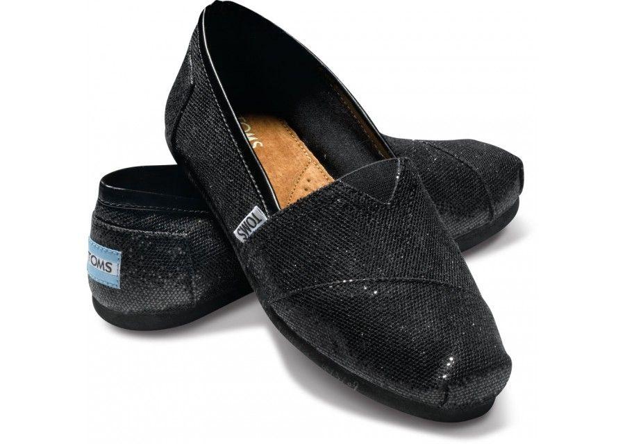 Black glitter shoes, Toms shoes