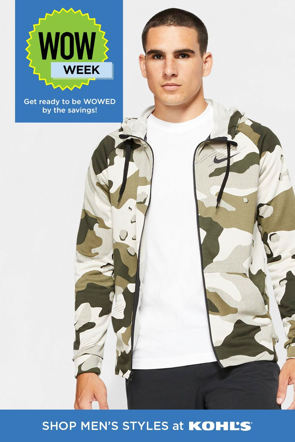 WOW Week is here! Save on your favorite brands, like Nike, and take 60-70% off select styles of men's clothing now through 6/28. Shop these great deals and more at Kohl's and Kohl's.com. #mensstyles #greatdeals