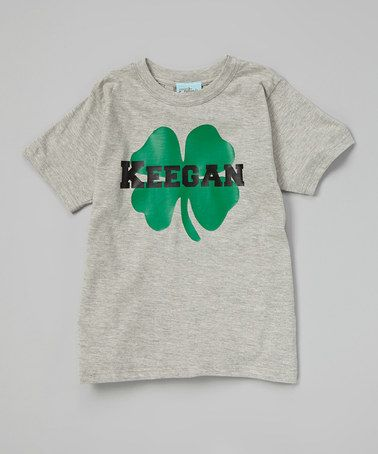Gray Personalized Shamrock Tee - Infant, Toddler & Boys by Gus & Lola #zulily #zulilyfinds