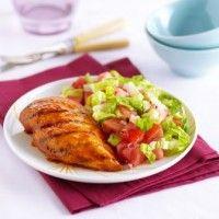 Poulet BBQ, salade melon d'eau et tomates sur Wikibouffe