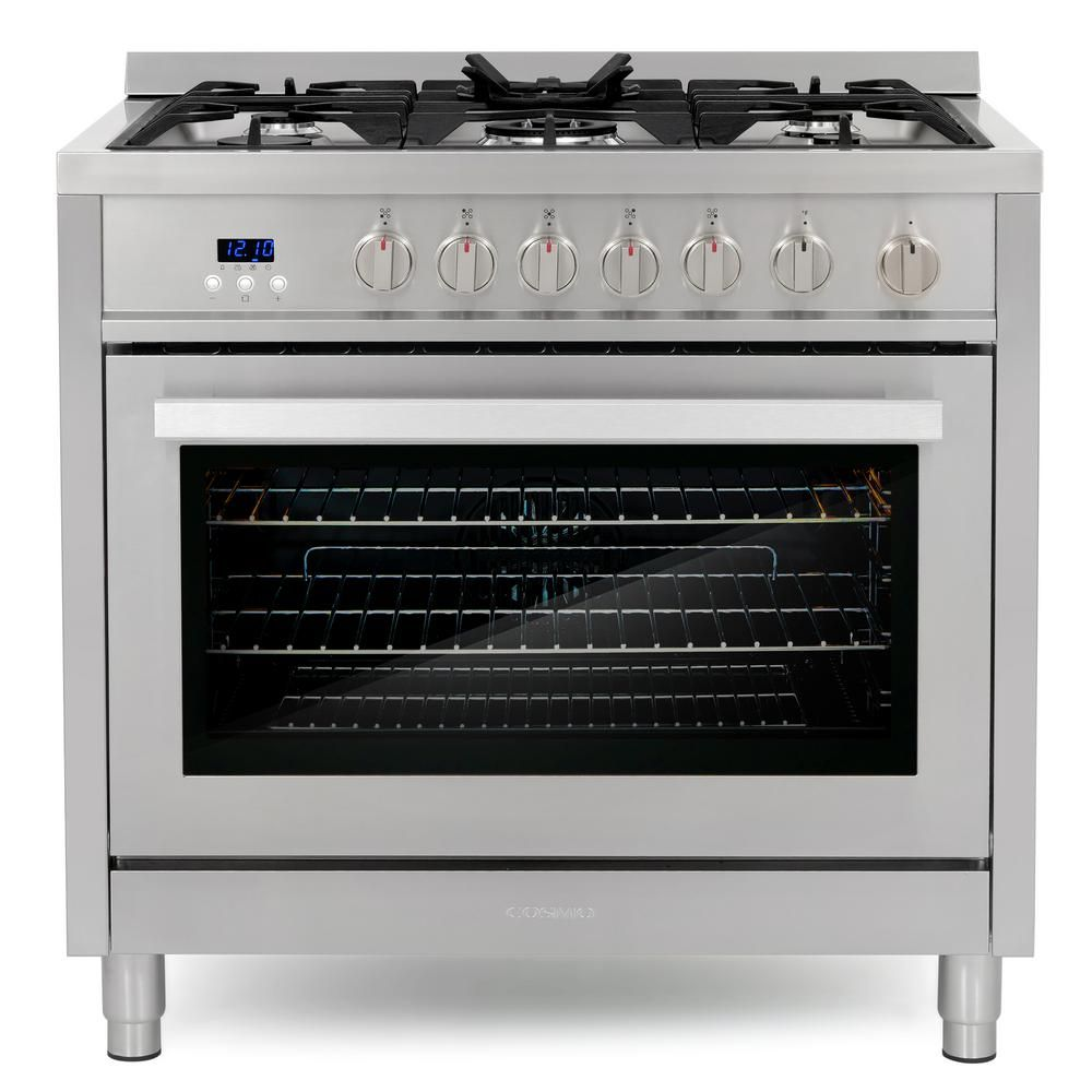 Cosmo 36 In 3 8 Cu Ft Single Oven Gas Range With 5 Burner Cooktop And Heavy Duty Cast Iron Grates In Stainless Steel Cos 965agfc The Home Depot In 2020 Range Cooker