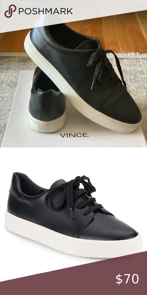 Designer Vince Size 9.5 Black leather sneakers