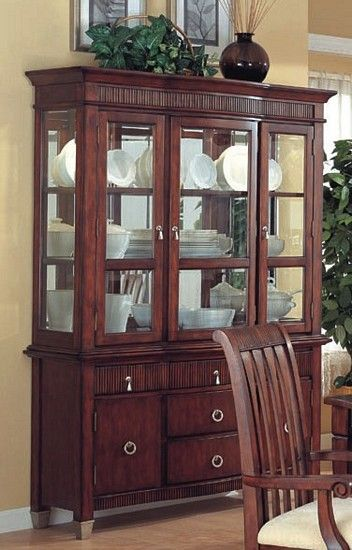 Barrington Collection Cherry Finish Wood China Cabinet Buffet Hutch