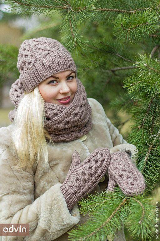 вязаный женский комплект вязаный женский шарф снуд вязаная женская