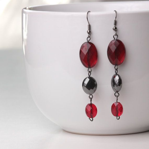 Romantic Ruby Red Earings by JackieLittleMiller on Etsy, $5.50