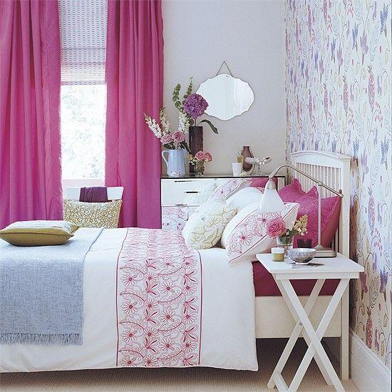 Schlafzimmer mit rosa Akzentfarbe Wohnideen Living Ideas Ideas