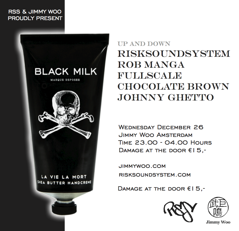 #BlackMilk, a brandnew 'afrodisiac'. Dec 26 at #JimmyWoo w #RiskSoundSystem, #RobManga, #Fullscale, #ChocolateBrown & #JohnnyGhetto