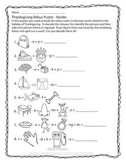 thanksgiving riddles coloring pages | Thanksgiving Rebus Puzzles - free download! | The Puzzle ...