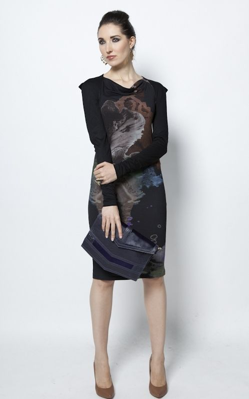 https://www.cityblis.com/4509/item/6414 | Autumnal love dress - $180 by Freak Factory | Straight-cut dress made from solid jersey body with unique print, intricate square shoulder detail and lighter jersey sleeves, this dress perfectly summarizes the entire Freak Factory AW 2012/2013 collection's theme in one piece - carefully balances structure spiced up with a drop of chaos. The... | #Dresses