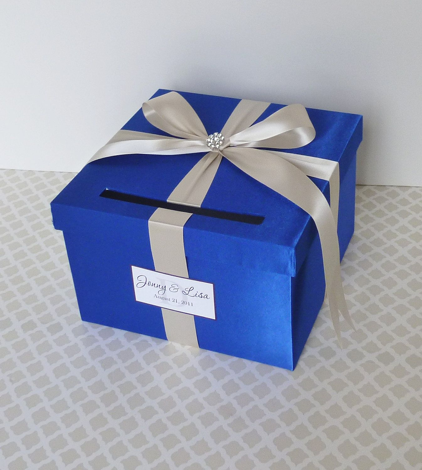 Satin wedding card box with royal blue flower and rhinestone mesh trim - Royal Blue Card Boxes For Wedding Google Search