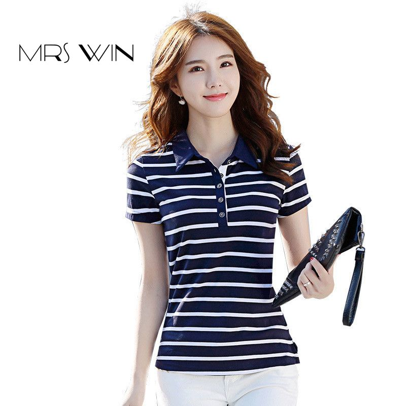 5625ab33bc Mrs win 2017 summer Tee Women New Cotton Short Sleeves Ladies T-Shirt  Striped Branded Clothing Mujer Camisas Girls Stripes Plus