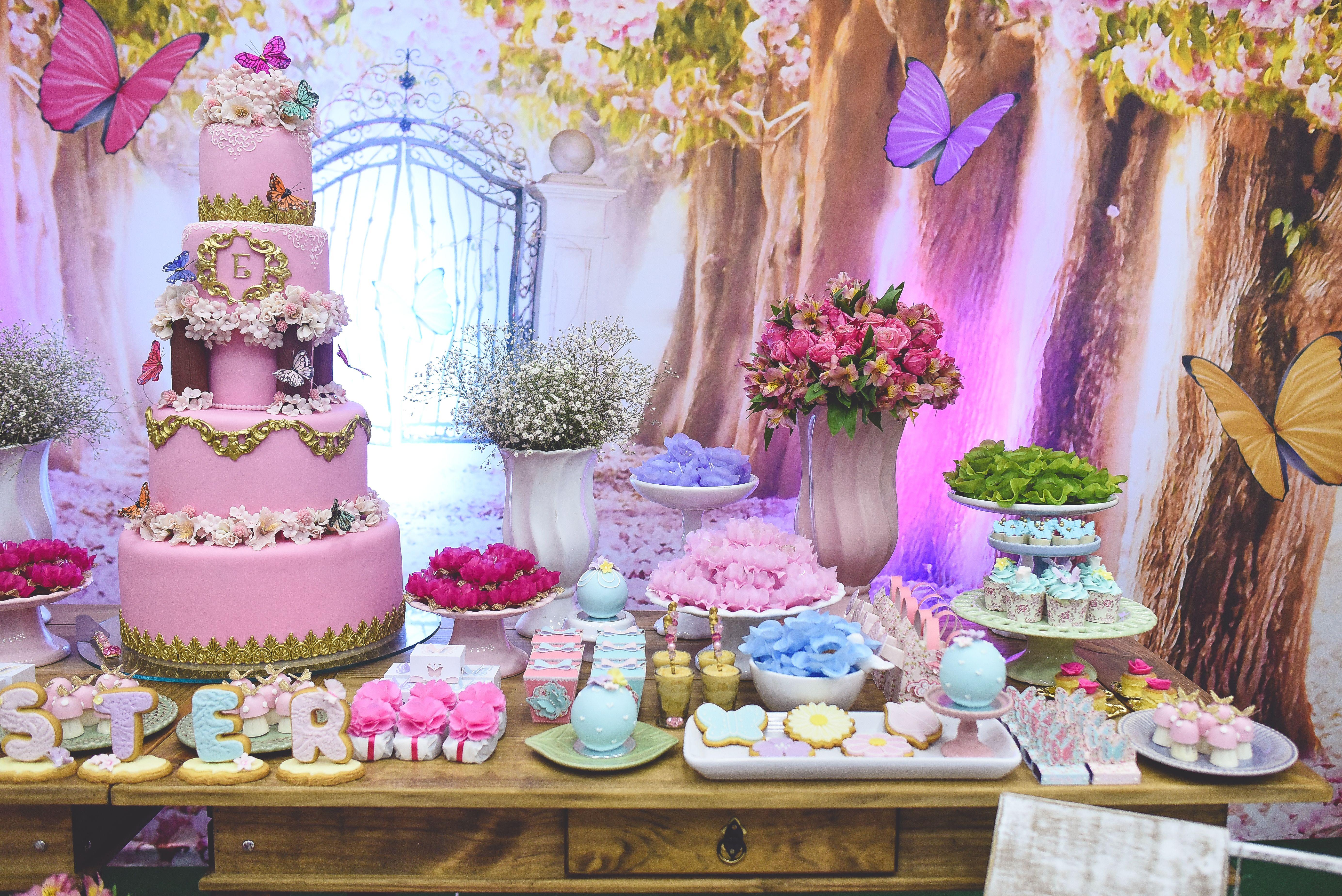 Blog Encontrando Ideias Niver Nanda Festa jardim das borboletas, Festa tema jardim e Festa # Decoração De Aniversario Jardim Encantado Das Borboletas