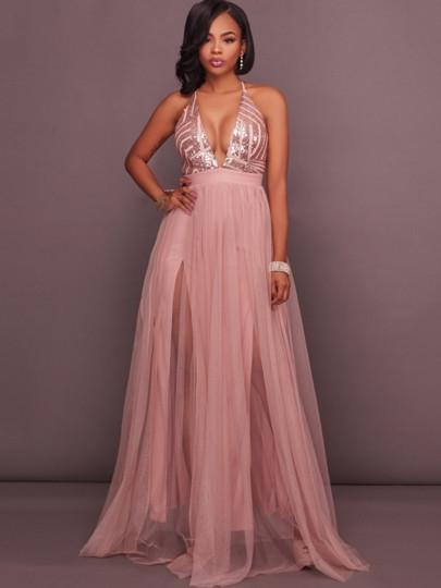 33ce24d02c10d Backless Sequins Gown in 2019 | Dress up | Rose gold long dress ...