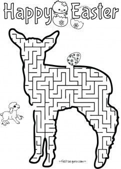 Print out easter mazes puzzles lamb to find the eggs worksheet for ...