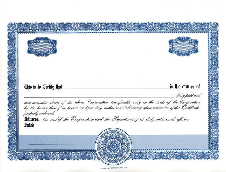 Stock Certificates Blank Free Printable Documents Certificate Template Certificate Templates Free Certificate Templates