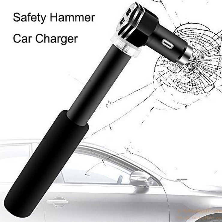 Dual Usb Port Safety Hammer Design Metal Car Charger With Handle Gift