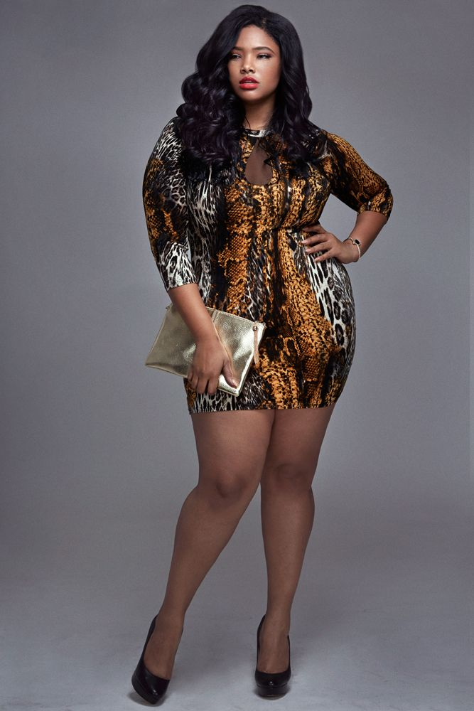 metallic animal print plus size fashion dress hip hop urban style ...
