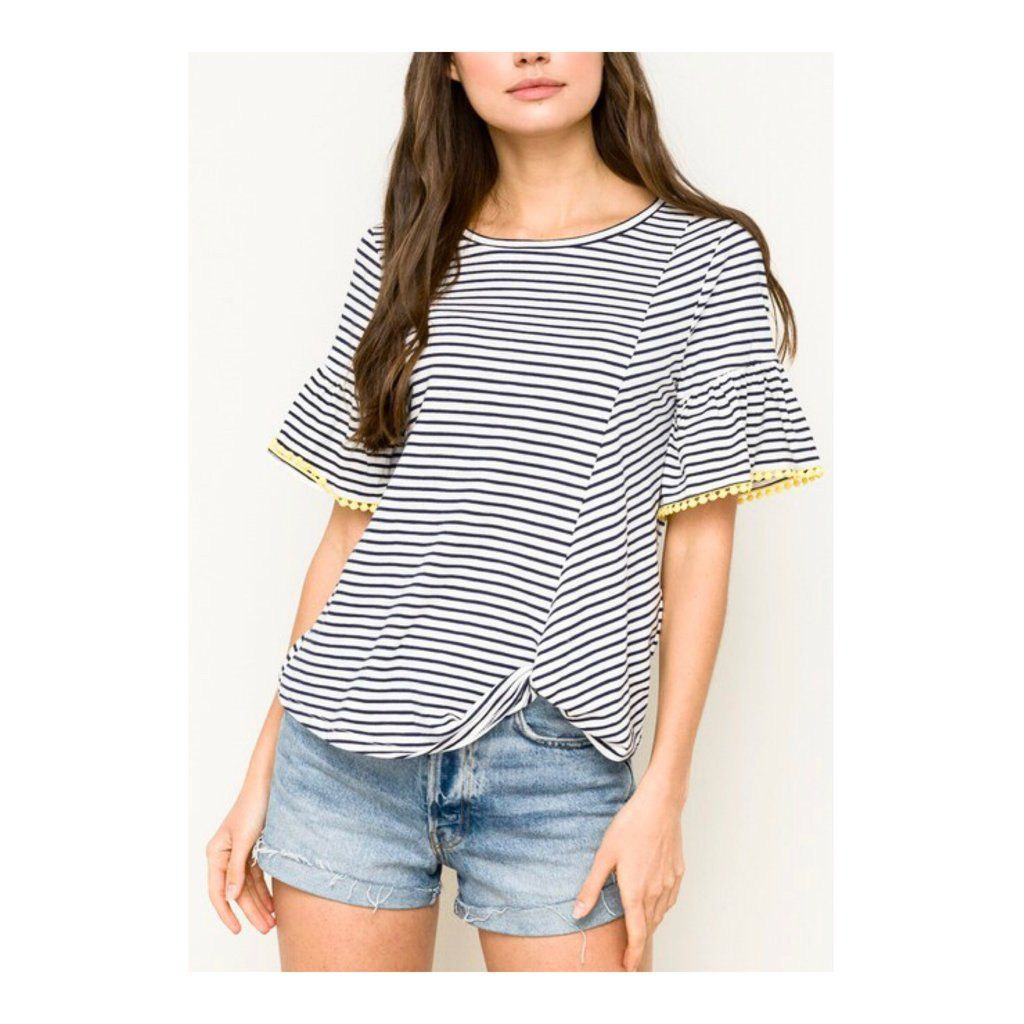 043a8af7b8d375 Navy White Stripe Bell Sleeve Knotted Hem Top with Yellow Trim in ...