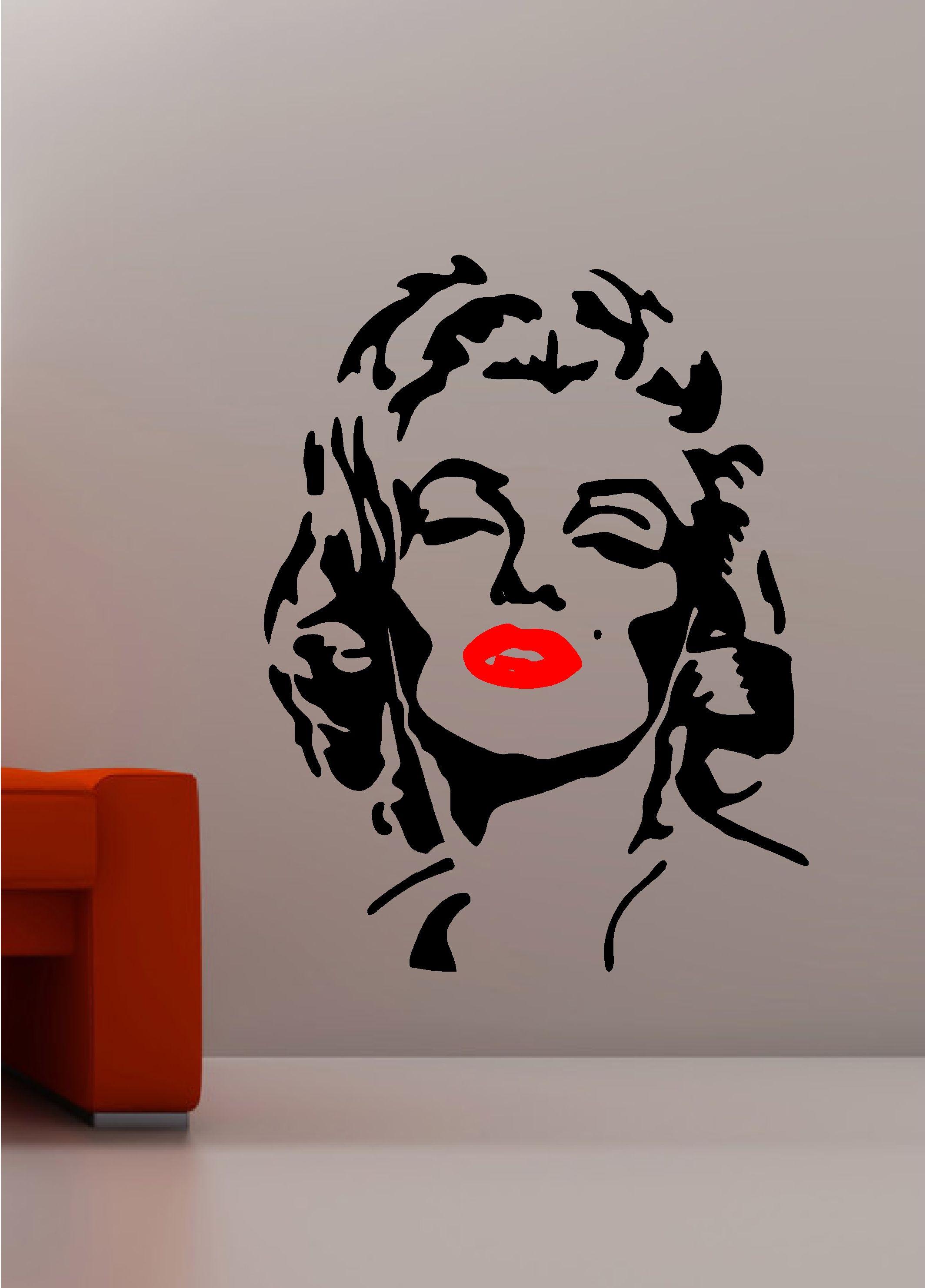 Marilyn monroe pop art wall art quote sticker vinyl kitchen lounge bedroom lips painting pop - Sticker on wall decor ...
