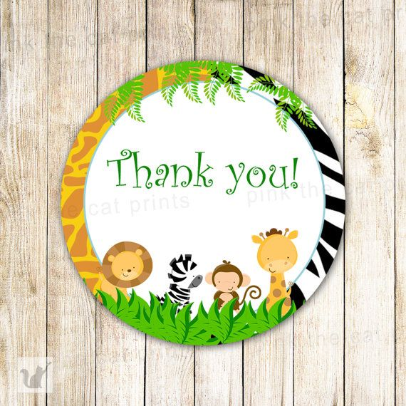 Blank For Gift Tags//Party Bag Labels Safari Animals 42 Self Adhesive Stickers